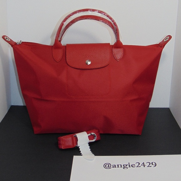 on sale 32ef9 cb27f Longchamp Handbags - LONGCHAMP LE PLIAGE NEO RED MEDIUM TOTE